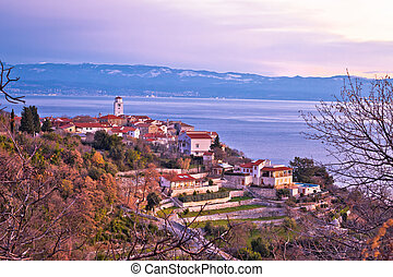 Brsec village skyline and Kvarner bay dawn view