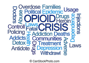 Opioid Crisis Word Cloud on White Background
