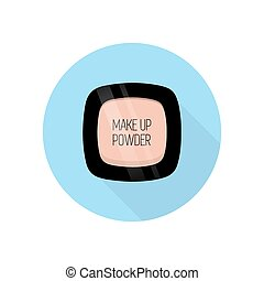 Make up powder. Vector illustration. Blue background. Flat...