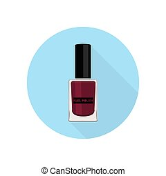 Nail polish icon. - Nail polish. Vector illustration. Blue...