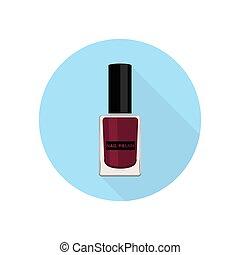 Nail polish icon. - Nail polish. Vector illustration. Blue...
