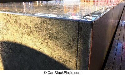 Modern fountain in the city's business district.