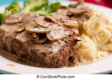 meatloaf with mushroom sauce - spicy meatloaf with mashed...