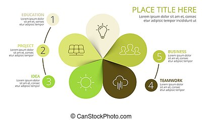 Vector circle arrows green leaves eco infographic. Ecology...
