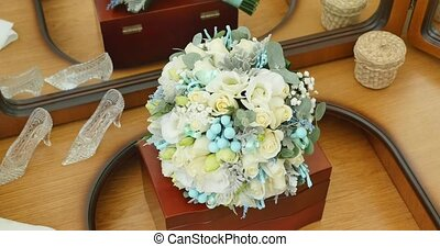 Bridal Bouquet on old and elegant table
