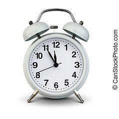 Alarm clock isolated on white, clipping path. Five minutes...
