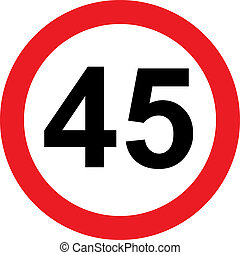45 speed limitation road sign on white background