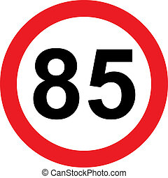 85 speed limitation road sign on white background