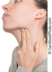 young woman gropes her lymph nose, concept influenza or...