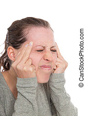young woman with migraine, primary headache disorder,...