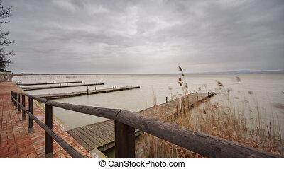 Beautiful Albufera pier static camera time lapse, Valencia....