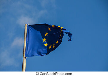 European Flag - Old European Flag on a Blue Sky