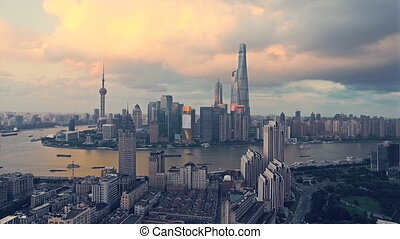Aerial view of ShangHai Pudong district skyline - Shanghai...