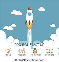 Project startup - Flat design of Rocket launch. Project...