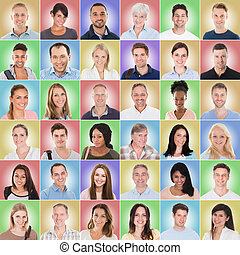Group Of People On Colored Background - Collage Of Casual...
