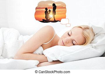 Young beautiful woman sleeping