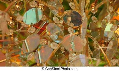 Beautiful vintage crystal chandelier in a room.