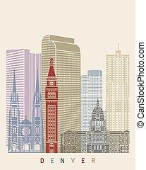 Denver skyline poster in editable vector file