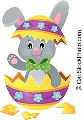 Easter bunny in eggshell theme illustration.