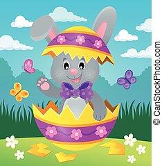 Easter bunny in eggshell