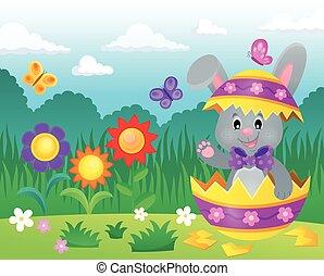 Easter bunny in eggshell illustration.