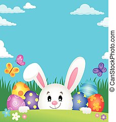 Easter eggs and lurking bunny theme