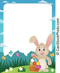 Frame with Easter basket and bunny