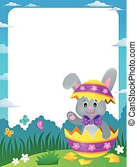 Frame with Easter bunny in eggshell - illustration.