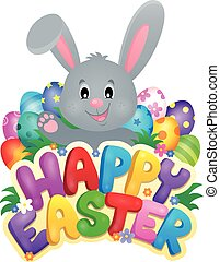 Happy Easter sign with bunny and eggs - eps10 vector...