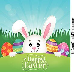 Happy Easter theme with eggs and bunny