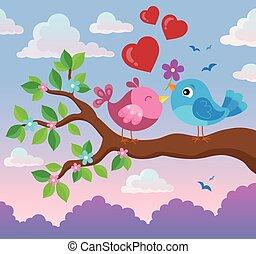 Valentine birds on branch