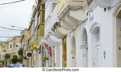 Close up of balconies. Maltese architecture in St. Julian,...