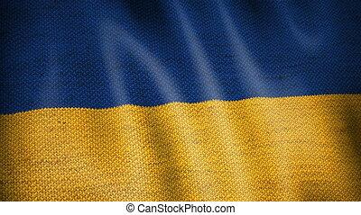 Burlap Flag of Ukraine. - Beautiful animation of Ukrainian...