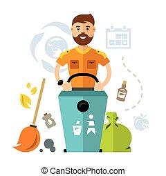 apartamento, estilo, Lixo, coloridos, vetorial, cobrador,...