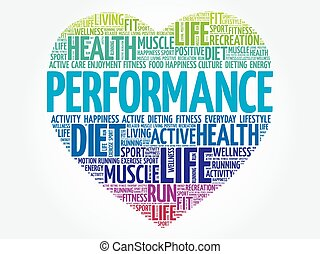 PERFORMANCE heart word cloud, fitness, sport, health concept