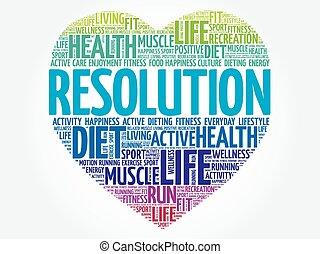 RESOLUTION heart word cloud, fitness, sport, health concept