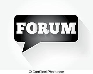 FORUM text message bubble, flat business concept background