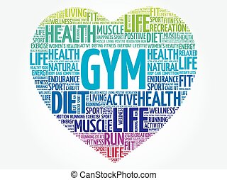 GYM heart word cloud, fitness, sport, health concept