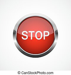 Red stop button. Vector illustration - Red metallic stop...