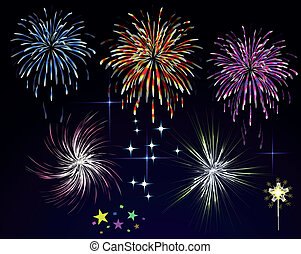 fireworks, vacanza, saluto, notte, cielo, vettore