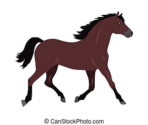 Horse Vector Illustration in Flat Design - Running sorrel...