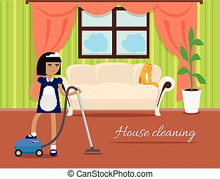 House Cleaning Banner - House cleaning banner. Girl with...