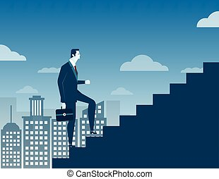 Businessman climbing up staircase concept on city background