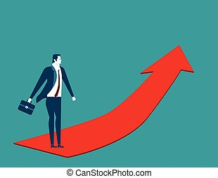 Businessman going up on the red arrow. Concept business illustration. Vector flat