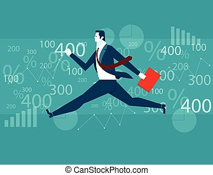 Businessman Jumping financial background