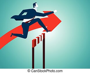 Businessman jumping, Red arrow. Concept business...