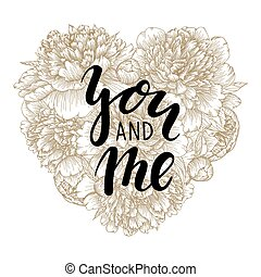 be my valentine Hand drawn calligraphy and brush pen lettering with gold floral heart
