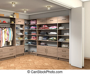 big dressing room with clothes, 3d illustration