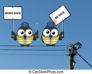Work safe be safe message - Comical construction workers...