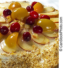 Fruit cake  with cherries, apricots and apples.